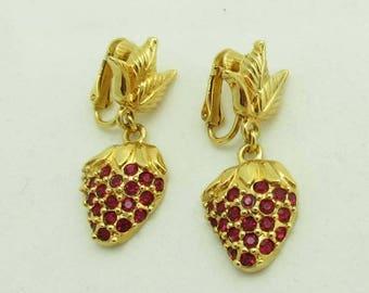 SALE Avon Strawberry Earrings Rhinestones Gold Metal Leaf Designer Signed Dangle 971