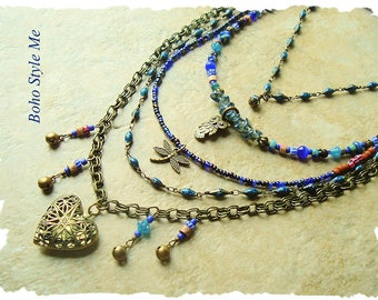 Bohemian Jewelry, Layered Midnight Blue Beaded Necklace, Modern Hippie, Urban Gypsy, Boho Chic, Boho Style Me, Kaye Kraus