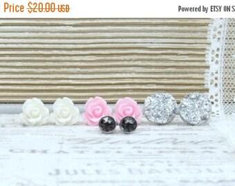 Set Of 4 Earrings Silver Druzy Studs Earring Set Pink Rose Studs Stud Earring Set Gray Crystal Studs