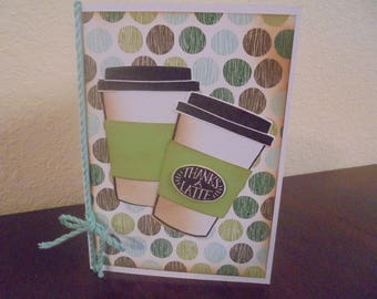 Greeting card, stampin up, coffee cafe,card, brown, green, blue, note card, handmade