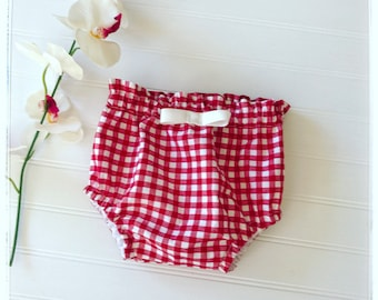 High waited baby bloomer Red gingham Picnic bloomers Baby diaper cover vintage red gingham bloomers baby bloomers red gingham bloomers