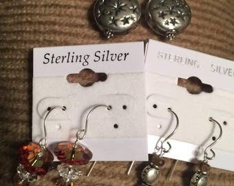 Set of 3 Pairs Sterling Pierced Earrings