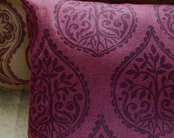 Tree and Fern dark mulberry purple hand block printed linen botanical moroccan home decor colorful decorative pillow case