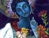 Blue Tara Buddhist Goddess - Goddess wall art - print on canvas - Buddhist Art - Goddess Art - Altar Art