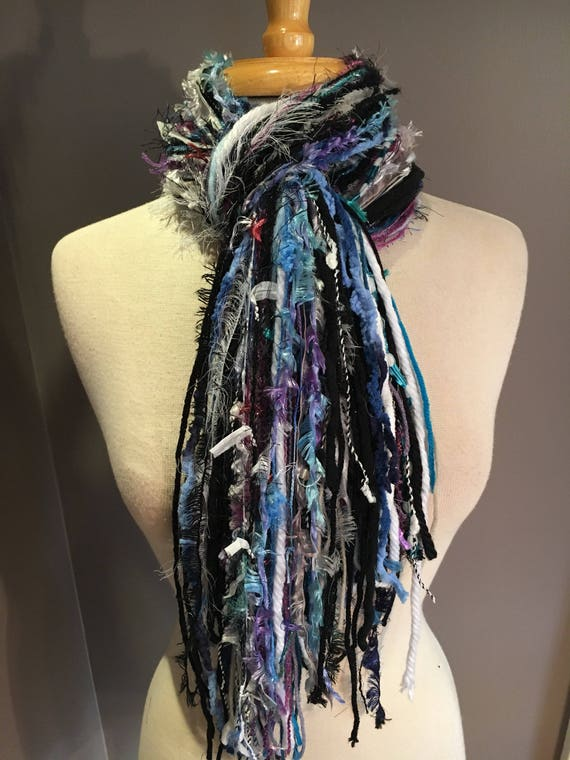 Medium Fringie in Snowbunny , All Fringe Scarf, Handmade hand-tied art fringe scarf in teal purple white, bohemian, gifts, short scarf, fur