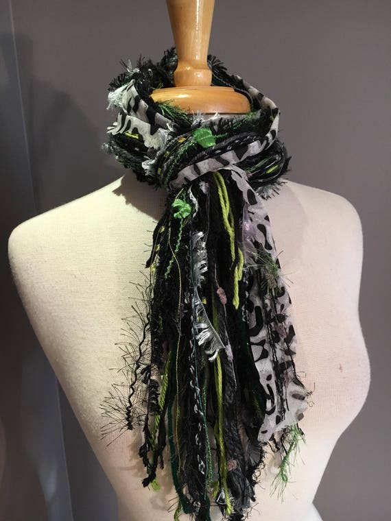 Fringe Scarf, Lime Cheetah Fringie,  hand-tied fringe scarf, black grey chartreuse lime, cheetah print scarf, bohemian, funky scarves, fur