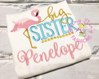 Big Sister Shirt ~ flamingo theme sister shirt ~ new baby announcement ~ pregnancy reveal ~ big sister ~ baby announcement ~ gender reveal