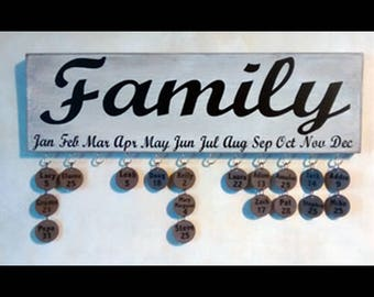 Ant. Wht. Family Birthday Sign with black lettering