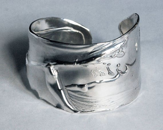 Sterling Silver Wide Splash Wrist Cuff