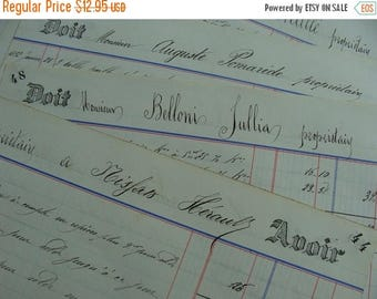 ONSALE 1800s Antique Handwritten Gorgeous French Ledgers Documents