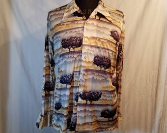 Mens vintage 70s polyester disco shirt,  butterfly collar, trees, xl