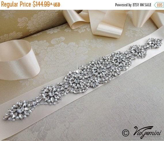 SALE 20% Rhinestone encrusted bridal belt, Crystal Belt, Bridal Sash