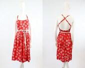 70s Halter Dress Lanz XS / 1970s Vintage Floral Dress Cotton / Criss Cross Dress