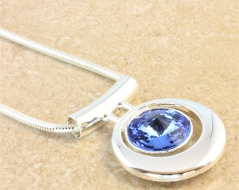 Swarovski Silver Pendant Necklace with Sapphire Blue Crystal Rivoli on Silver Plated Snake Chain