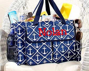 Oversized Multi-Pocket Utility Totes- Embroidered, Personalized, Nautical, Anchors, Navy Blue and White, Swim, Beach, Lake