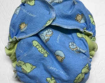 MamaBear One Size Fitted Cloth Cotton Flannel Diaper - Baby Dinosaurs