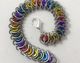 Rainbow Silver Custom Length Stainless Steel and Anodized Aluminum Unisex Chainmaille Bracelet Anklet