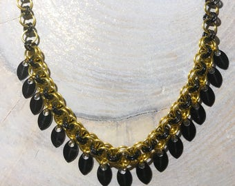 Black Gold Chain Mail Necklace with Scales Scalemaille Chainmaille