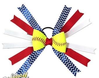 JUNE SALE: Softball Hair Bow - Red Blue White Chevrons