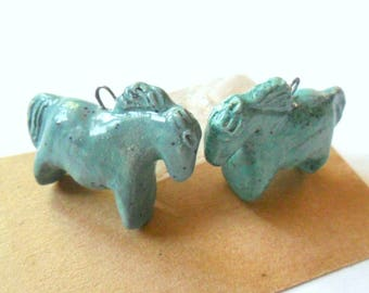 Kiln Fired Clay Stoneware Turquoise Glazed Indian Pony Horse Bead Pair