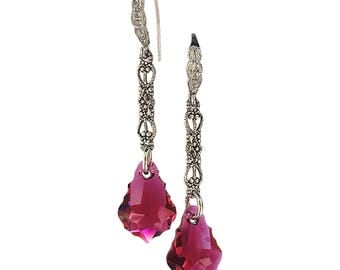 Romantic Ruby Red Vintage Inspired Baroque Earrings with Crystals from Swarovski, July Birthmonth Crystal Earrings