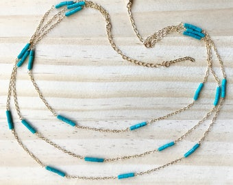 Turquoise and gold-filled multi-chain necklace with adjustable length