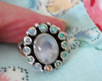 RING - MOONSTONE - Fire Opals   -  OVAL -  925 - Sterling Silver - size 7 1/4 moonstone413