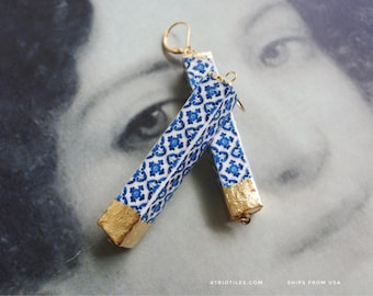 Earrings Portugal BAR Blue Tile Azulejo GOLD LEAF Dipped Antique Ovar (see photo of actual facade) Gift Box Included