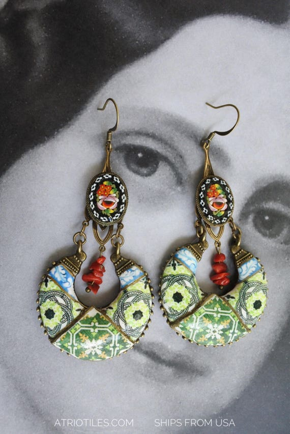 Earrings Tile Portugal Azulejos Italy Micro Mosaic Red Coral OOAK Chandelier Eclectic Bohemian Persian Sicily Italian Reversible