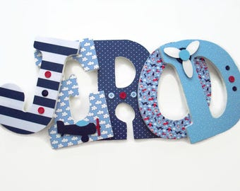 Nursery Letters - Airplane Wood Letters - Boys Plane Nursery Decor - Wood Wall Letters Baby Room - Travel Baby Room - Red White Blue Letters