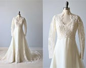Vintage Long Sleeve Lace Wedding Dress / Chiffon / Collar / Crystals and Pearls
