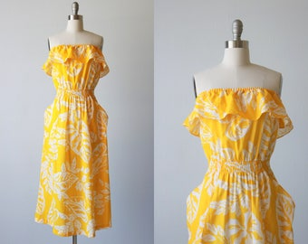 Vintage Yellow Strapless Sundress / 1980s Cotton Sleeveless Pockets Dress Size S / Resort Wear
