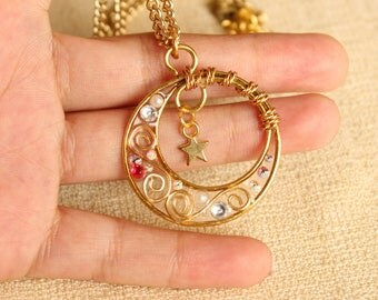 Gold Crescent Moon and Star Pendant/Wire-wrapped and resin moon pendant, star charm necklace, celestial heavenly body kawaii jstyle jewelry