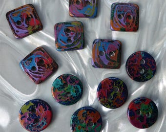 12 unusual funky handmade buttons (set12c_0118)