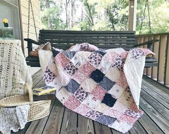Large Throw Rag Quilt, CHARLESTON, navy, peach creams, comfy cozy handmade bedding, Granny Chic in Modern Fabrics, READY to ship