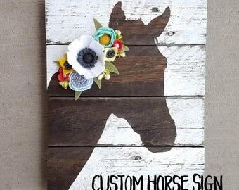 CUSTOM-  horse sign with felt flowers
