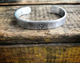 Textured Hand Stamped Heart Aluminum Bracelet- gift for her- Valentine's Day