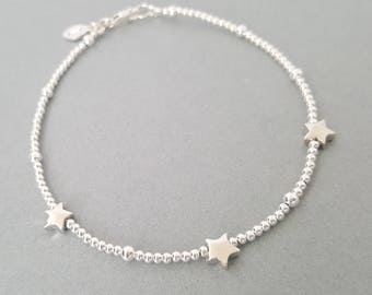 Sterling Silver Star Bracelet with initial handmade silver beads bracelet tiny beaded bracelet personalised bracelet dainty layered jewelry