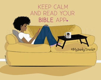 NEW! Bible App- African American Black Woman Art Natural Hair Afro Art