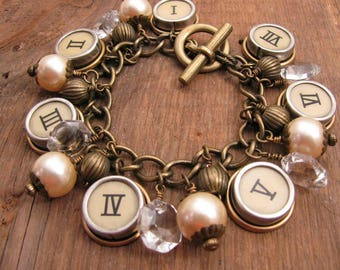 Statement Jewelry - Charm Bracelet - Repurposed Cash Register Key Bracelet - Roman Numerals - Pearl Bracelet - Crystals and Beads - Chunky