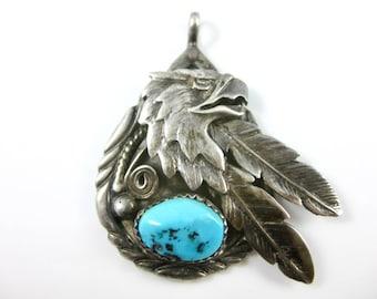 Vintage Turquoise Sterling Silver Eagle Pendant Signed JB