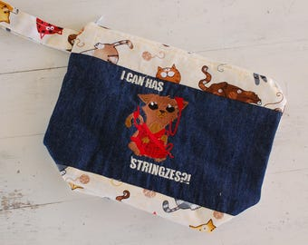 Small Knitting Project Bag, Knitting Project Bag, Embroidered Project Bag, Knitting Project Bag with Zipper, Knitting Project Bag Medium