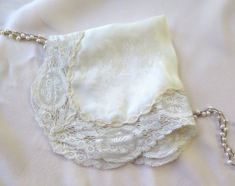 Silk Handkerchief with Antique Val Lace Trim in Ivory Floral Jacquard with Round Corners Wedding/Bridal/Special Occasion Hanky OOAK