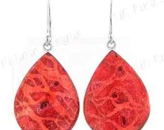 "1 1/8"" Teardrop Red Sponge Coral 925 Sterling Silver Earrings"