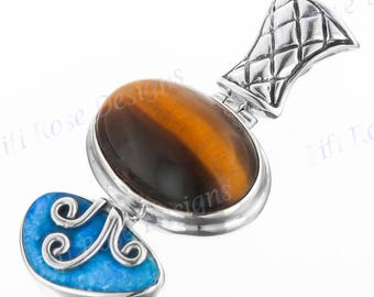 "1 3/8"" Tiger Eye Natural Opal 925 Sterling Silver Pendant"