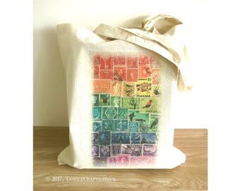 Rainbow Tote Bag - Postage Stamp Print Eco Shopper with Long Handles