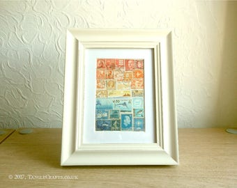 Sunset Sea Stamp Art - Small Framed Collage, Recycled World Stamps