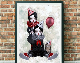 Clown Girl Art Print - Clowns Print - Pop Surrealism Art - Pop Surrealism - Wall Decor - Trio