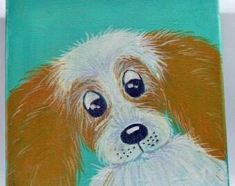 SPANIEL Dog, Folk Art Painting, Small Canvas, Fluffy Ears.