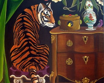 The Curious Cat Fine art print by Catherine Nolin 5x7